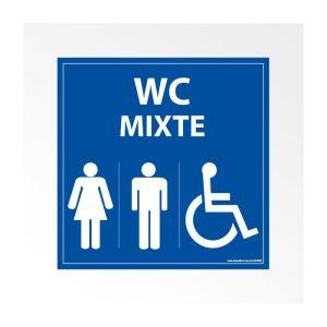 Panneau Signalisation - WC Mixte Femme Homme PMR : taille panneau signalisation - 125 x 125 mm, Modèle - Vinyle souple autocollant