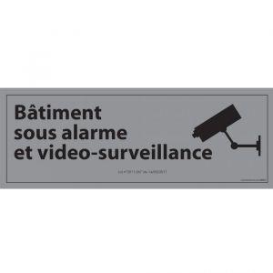 Panneau d'information  Bâtiment sous alarme et vidéo-surveillance : Modèle - Vinyle souple autocollant, Couleur fond - Inox