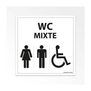 Panneau Signalisation - WC Mixte Femme Homme PMR - Blanc : taille panneau signalisation - 125 x 125 mm, Modèle - Vinyle souple autocollant