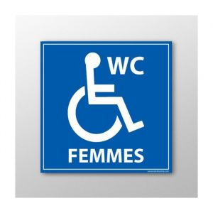 Panneau Signalisation - WC Femmes - Handicapé : taille panneau signalisation - 350 x 350 mm, Modèle - PVC