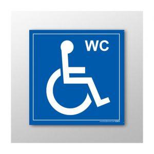 Panneau Signalisation - WC - avec picto Handicapé : taille panneau signalisation - 125 x 125 mm, Modèle - Vinyle souple autocollant