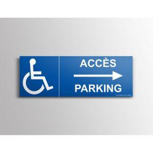 """Signalisation """"Accés parking"""" Handicapé, flèche à droite : Modèle - PVC, taille panneau signalisation - 210 x 75mm"""