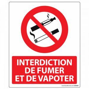 Panneau Interdiction de Fumer et Vapoter : Modèle - PVC