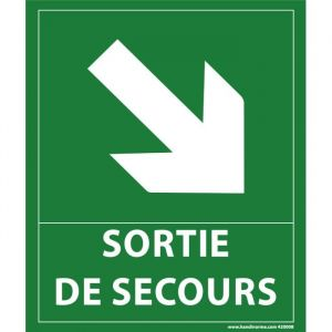 """Panneau """"sortie de secours""""- flèche bas à droite - 300 x 250 mm : Modèle - Vinyle souple autocollant"""