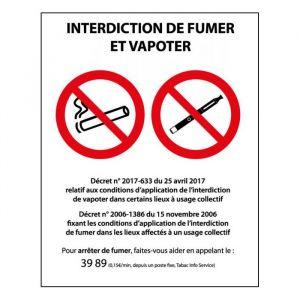 Panneau Interdiction de fumer et vapoter - PVC  ou autocollant : Modèle - PVC, Dimensions - 150 x 210 mm