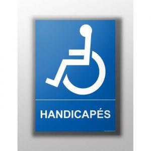 Panneau Texte 'Handicapés' : Modèle - Vinyle souple autocollant, taille panneau signalisation - 300 x 420 mm