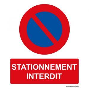 Panneau rectangulaire de sécurité Stationnement interdit : Modèle - PVC