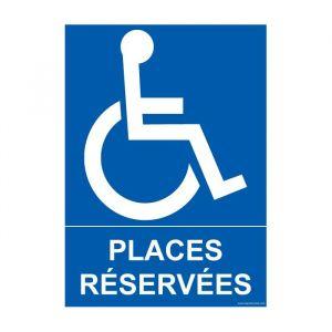 Panneau Parking 'places réservées' handicapé : Modèle - PVC, taille panneau signalisation - 150 x 210 mm