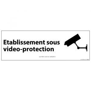 Signalisation d'information Etablissement sous vidéo-protection : Modèle - PVC, Couleur fond - Blanc