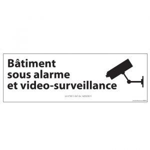 Panneau d'information  Bâtiment sous alarme et vidéo-surveillance : Modèle - Vinyle souple autocollant, Couleur fond - Blanc