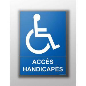 Panneau 'Accès Handicapé' : Modèle - Vinyle souple autocollant, taille panneau signalisation - 300 x 420 mm