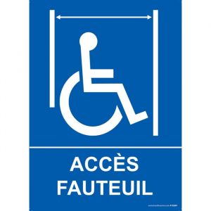 Panneau ascenseur 'Accès fauteuil handicapé' : Modèle - Vinyle souple autocollant, taille panneau signalisation - 300 x 420 mm