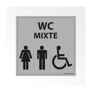 Panneau Signalisation - WC Mixte Femme Homme PMR - Gris : taille panneau signalisation - 125 x 125 mm, Modèle - Vinyle souple autocollant