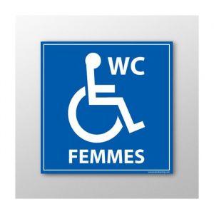 Panneau Signalisation - WC Femmes - Handicapé : taille panneau signalisation - 125 x 125 mm, Modèle - Vinyle souple autocollant