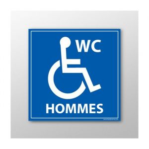 Panneau signalisation - WC Hommes - Handicapé : taille panneau signalisation - 450 x 450 mm, Modèle - Vinyle souple autocollant