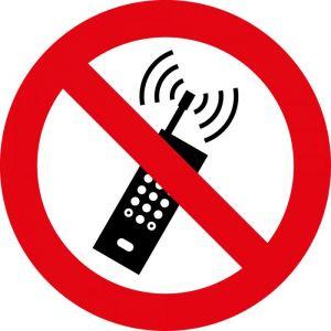 Panneau rond interdit au téléphone portable : Modèle - Vinyle souple autocollant