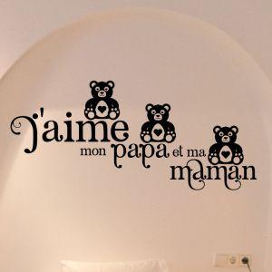 Sticker citation J'aime mon papa et ma maman