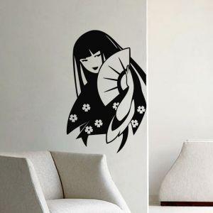 Sticker Japonaise avec un éventail