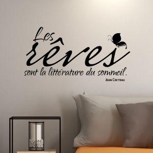 Sticker citation Les rêves sont la littérature - Jean Cocteau