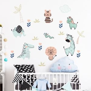 Stickers animaux scandinaves du zoo