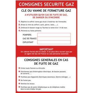 Consignes sécurité gaz