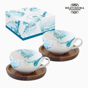 2 tasses en Porcelaine, eau bleue