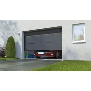 Porte de garage sectionnel Columbia kit n. large gris H.212.5 x l.300 Somfy