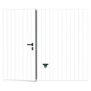Porte garage basculante Noviso blanc nerv.larges portillon droit H.200 x l.300