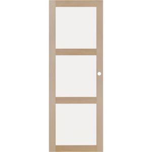 Porte coulissante Hêtre ATRIA VITRE 3 carreaux 204 x 73 cm gauche