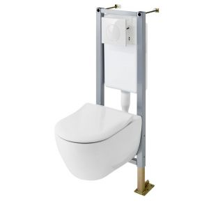 Pack cuvette Urban XL ss bride+abattant+bâti wc Set In sol/mur H.110 SV+plq.blc