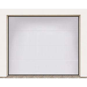 Porte garage sectionnel Columbia kit nervure large blanc lisse H.212.5 x l.250