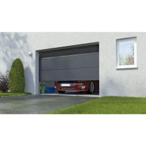 Porte de garage sectionnel Columbia prémonté n. large gris H.200 x l.300 Somfy