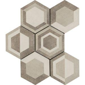 Carrelage GOAL décor crème 21x18,2 ép.9,5 mm aspect mat