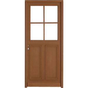 Porte d'entrée ** bois exo Chambon 4 carreaux à barillet H.215 x l.80 droite