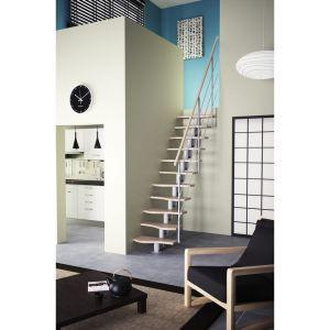 Escalier BALI blanc 11 marches hêtre contreplaqué avec rampe métal