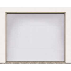 Porte garage sectionnel Columbia kit nerv. large blanc (grain) H.200 x l.250