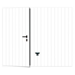 Porte garage basculante Noviso blanc nerv.larges portillon gauche H.200 x l.300