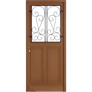 Porte d'entrée** bois exo Chambon grille vallière H.200 x l.80 droite