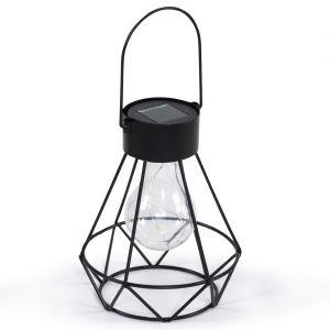 Lanterne solaire géométrique noire - D.13.5xH.24 cm