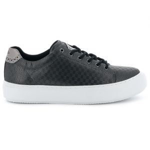 Baskets basses petite plateforme noir/argenté