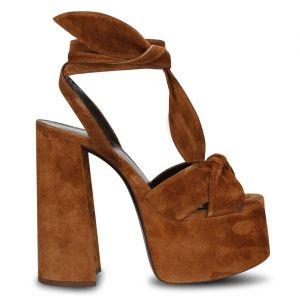 Sandales en Velours de Cuir camel - Talon 15 cm