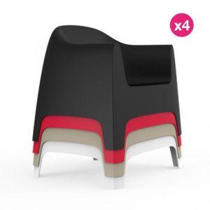 Lot de 4 Fauteuils Vondom Lounge Solid Blanc-Taupe-Noir-Rouge Empilables