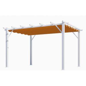 Pergola Aluminium Habrita Orange 12m2 avec toile d'ombrage 140gr