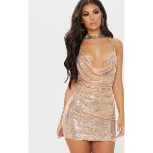 Tarria robe mini ras du cou à chaîne et sequins or rose, Or rose - Taille 32