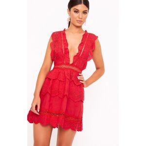Robe trapèze rouge dentelle crochetée plongeante, Rouge