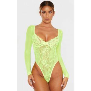 Body lingerie manches longues vert citron fluo en dentelle à design échancré & bonnets, Neon Lime - Taille L