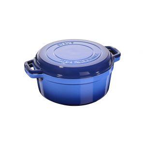 Cocotte et gril 28 cm, bleu roy