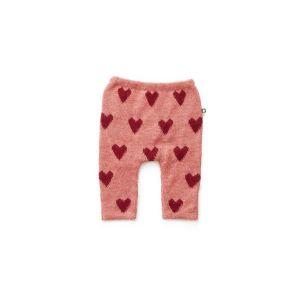 Pantalon en alapaga rose avec cœurs rouges 12m