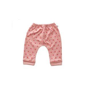 Pantalon sarouel cerises en coton biologique rose 3/6m