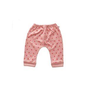 Pantalon sarouel cerises en coton biologique rose 6/12m